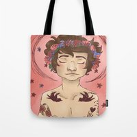 cargline Tote Bags featuring Hippie Harry by cargline
