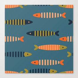 Striped fish - blue Canvas Print