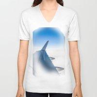 airplane V-neck T-shirts featuring Airplane by Fernando Derkoski
