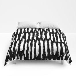 Vertical Dash White on Black Paint Stripes Comforters