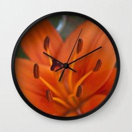 Orange Tiger Lily Wall Clock
