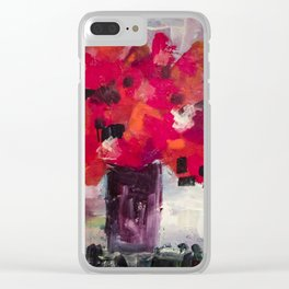 Red, Red Abstract Flowers Contemporary Clear iPhone Case