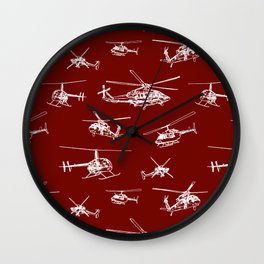 Helicopters on Maroon Wall Clock