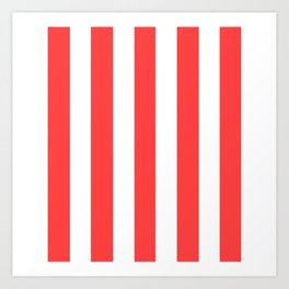 Coral red - solid color - white vertical lines pattern Art Print