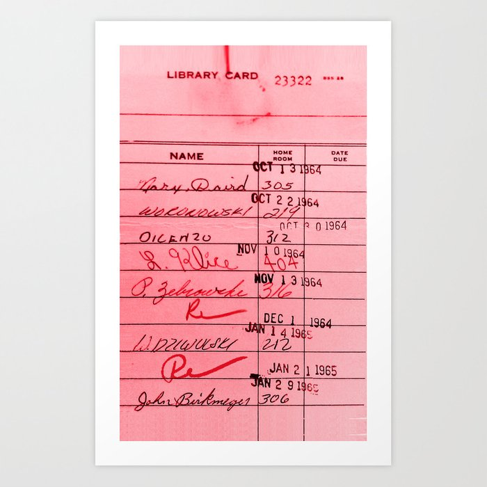 Library Card 23322 Pink Kunstdrucke