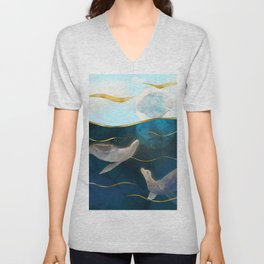 Sea Lions Playing with the Moon - Underwater Dreams Unisex V-Neck