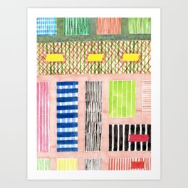 Friendly Pattern Mix On Pink Art Print