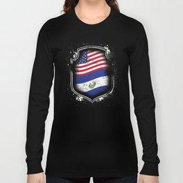 Salvadorian American Flag Long Sleeve T-shirt