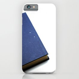 Blue antique book on a white background iPhone Case