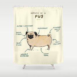 Anatomy of a Pug Shower Curtain