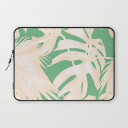 Tropical Coral Green Palm Leaf Pattern Laptop Sleeve