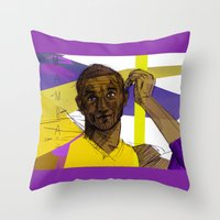 kobe Throw Pillows featuring Kobe Bryant: SO CHILL by Maddison Bond