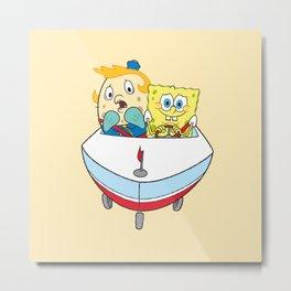 Spongebob with Mrs. Puff Metal Print