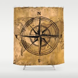 Destinations - Compass Rose and World Map Shower Curtain