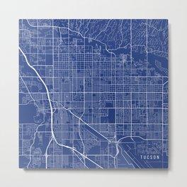 Tucson Map, USA - Blue Metal Print