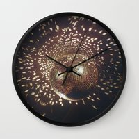 disco Wall Clocks featuring disco by oanauciuf