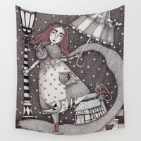 snow Wall Tapestries featuring Alice's First Snow by Judith Clay