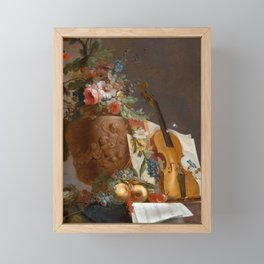 Still life with flowers and a violin, 1750 Framed Mini Art Print