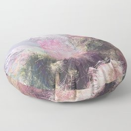 Wild Roses in Motion - Glitch Floor Pillow