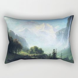 Staubbach Falls Near Lauterbrunnen Switzerland By Albert Bierstadt | Reproduction Painting Rectangular Pillow