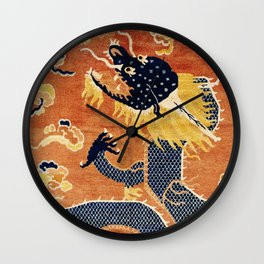 Ningxia Blue Dragon Chinese Pillar Antique Rug Print Wall Clock
