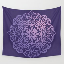 Polynesian style tattoo mandala purple Wall Tapestry