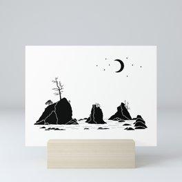 Three Graces Black on white Mini Art Print