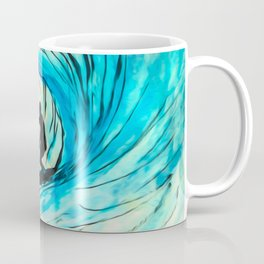 Lone Surfer Tubing the Big Blue Wave Coffee Mug
