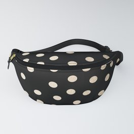 Simply Dots White Gold Sands on Midnight Black Fanny Pack