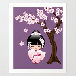 Japanese Bride Kokeshi Doll on Purple Art Print