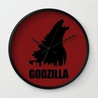 godzilla Wall Clocks featuring Godzilla by Nick Kemp