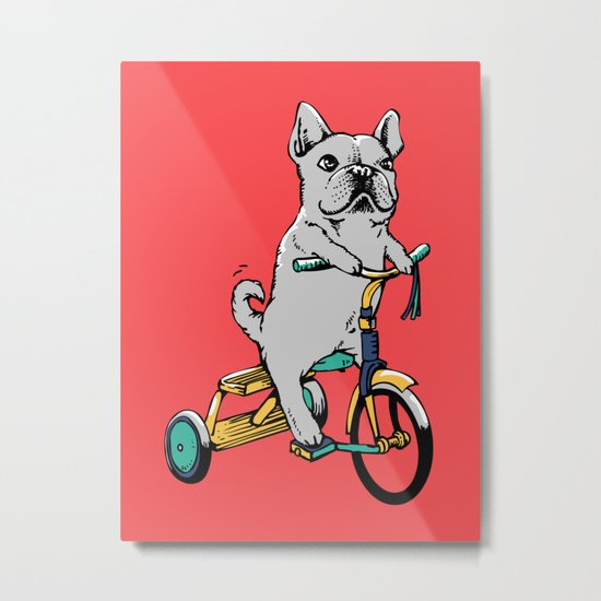 Frenchie Ride Metal Print