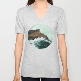 Crashing Waves on a cliff Unisex V-Neck