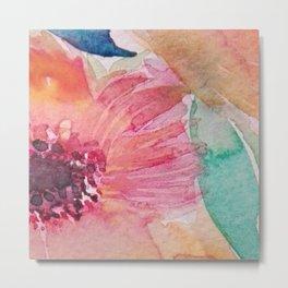 Watercolor flowers and leaves Metal Print