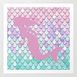 Mermaid Silhouette, Pastel Pink, Purple, Teal Art Print
