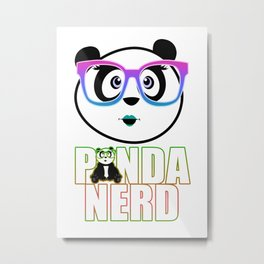 Panda Nerd Girl - Rainbow Metal Print