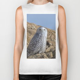 Snowy Owl with a strange look Biker Tank