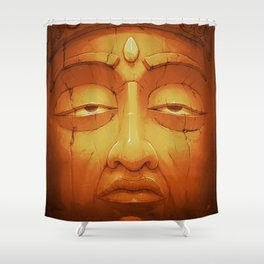 Buddha II Gold Shower Curtain