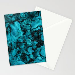 Blue Gemstone and Ink Malachite Glitter Marble Stationery Cards