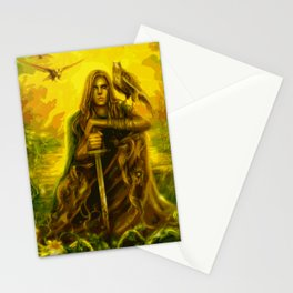 Young Merlin and His Hawk Friend (Painting) Stationery Cards