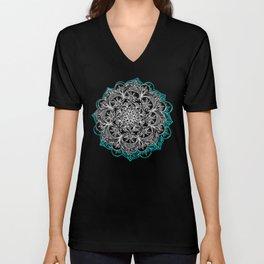 Turquoise & White Mandalas on Grey Unisex V-Neck