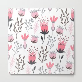 Pink and Gray Tulips Metal Print