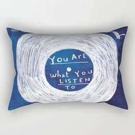 you are what you listen to, BLUE Rectangular Pillow
