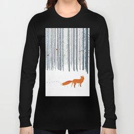 Fox in the white snow winter forest illustration Long Sleeve T-shirt