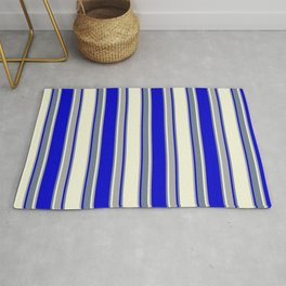 Beige, Dark Grey, Blue, and Slate Gray Colored Pattern of Stripes Rug
