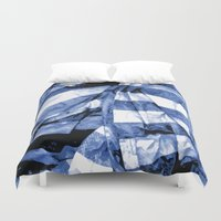 bands Duvet Covers featuring Blue Bands by Motif Mondial