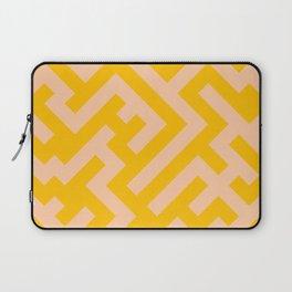 Deep Peach Orange and Amber Orange Diagonal Labyrinth Laptop Sleeve