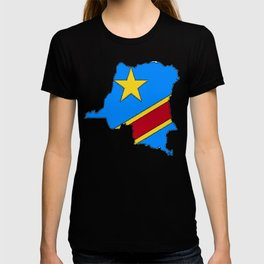 Democratic Republic of the Congo Map with Congolese Flag T-shirt