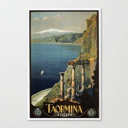 Vintage Taormina Sicily Italian travel ad Canvas Print