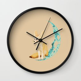 lonely Fennec (blue) Wall Clock